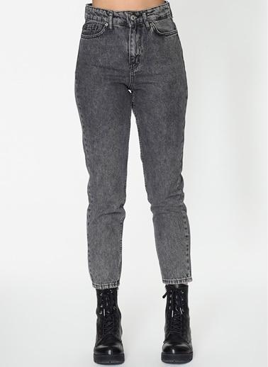 Loves You Kar Yıkama Yüksek Bel Mom Jean Pantolon Füme